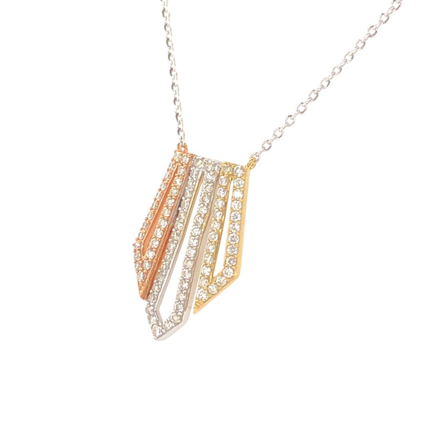 Tri-Color Deco Inspired 14k Gold Pendant - Aatlo Jewelry Gallery
