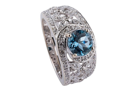 18k White Gold Aquamarine and Diamond Ring - Aatlo Jewelry Gallery