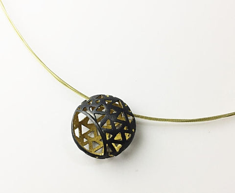 Glimpse Golden Small Black Enameled And 18k Yellow Gold Plated Pendant - Aatlo Jewelry Gallery