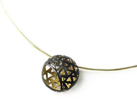 Black And 18k Yellow Gold Plated Large Glimpse Pendant - Aatlo Jewelry Gallery