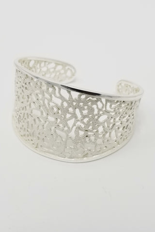 White Lacquer Sterling Silver Cuff - Aatlo Jewelry Gallery