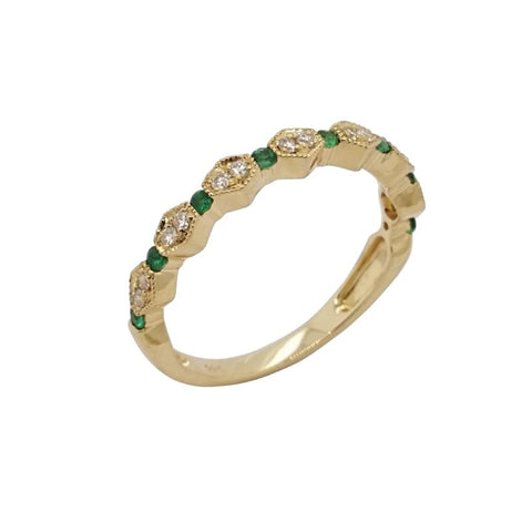 14K Yellow Gold Emerald And Diamond Stacking Ring - Aatlo Jewelry Gallery