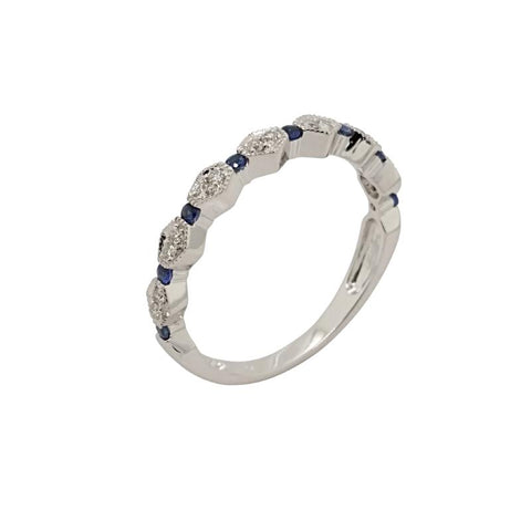 14K White Gold Blue Sapphire And Diamond Stacking Ring - Aatlo Jewelry Gallery