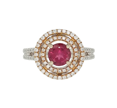 Yellow and White Gold Pink Tourmaline and Diamond Ring - Aatlo Jewelry Gallery