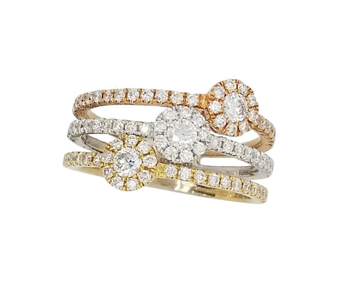 Yellow, White and Rose Gold Diamond Ring