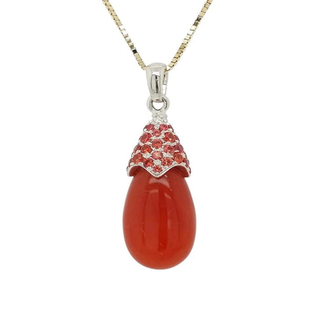 18k White Gold Carnelian and Orange Sapphire Drop Pendant - Aatlo Jewelry Gallery
