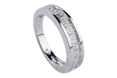 14k White Gold Princess Cut Diamond Band - Aatlo Jewelry Gallery
