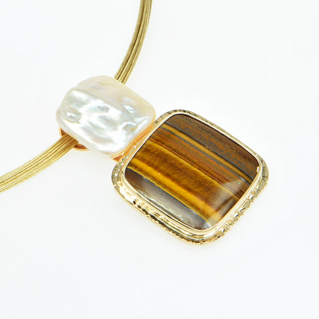 Michael Baksa Tigereye and Freshwater Pearl 14K Gold Pendant - Aatlo Jewelry Gallery