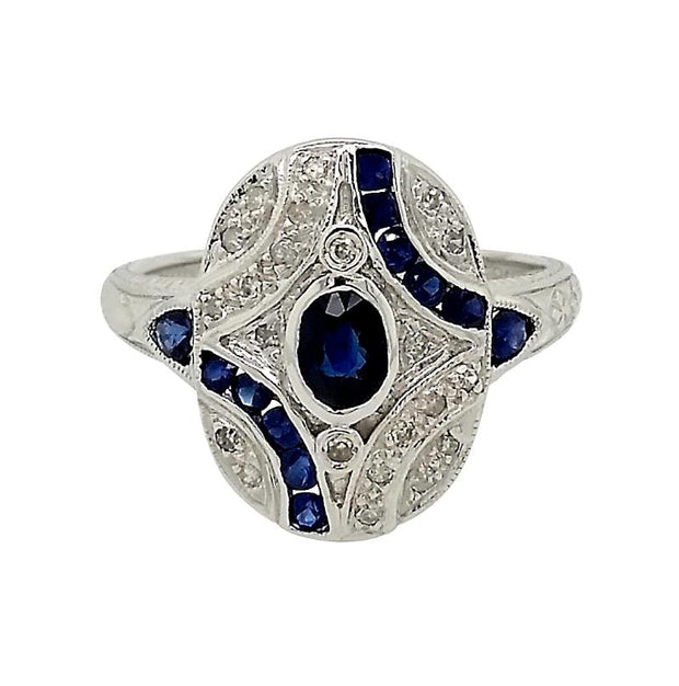 14k White Gold Art Deco Inspired Blue Sapphire & White Diamond Ring - Aatlo Jewelry Gallery