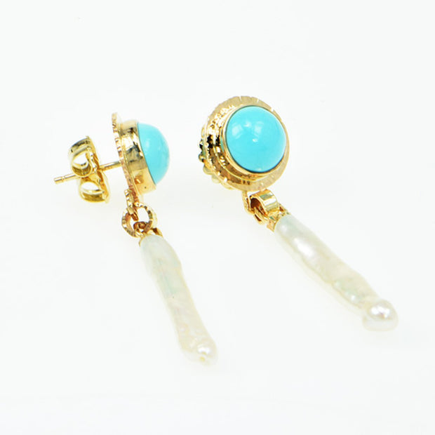 Michael Baksa 14k Yellow Gold Persian Turquoise and Stick Pearl Earrings