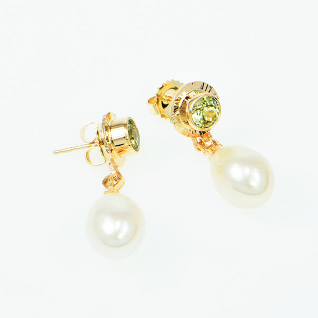Michael Baksa 14k Yellow Gold Mali Green Garnet and Freshwater Pearl Earrings