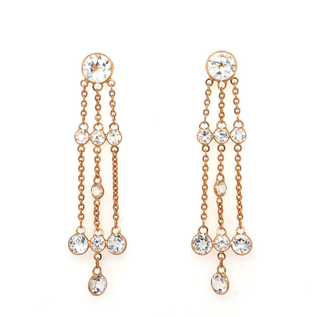 18k Rose Gold and White Topaz Drop Earrings
