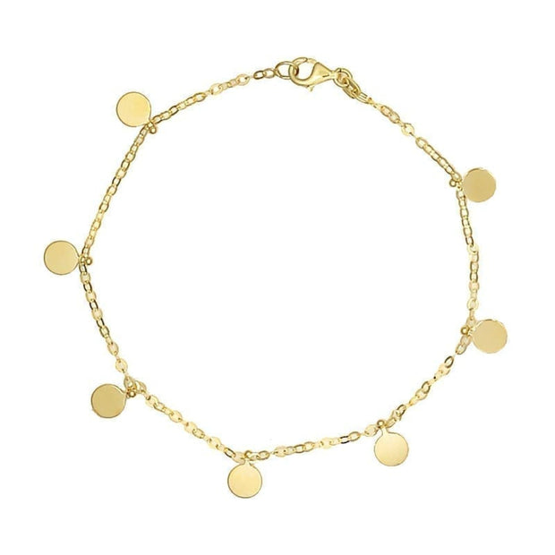 14k Yellow Gold Round Disc Bracelet