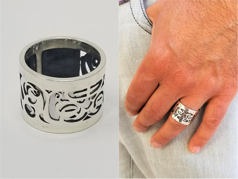 Tiaki Modern Tribal Sterling Silver Polished Ring