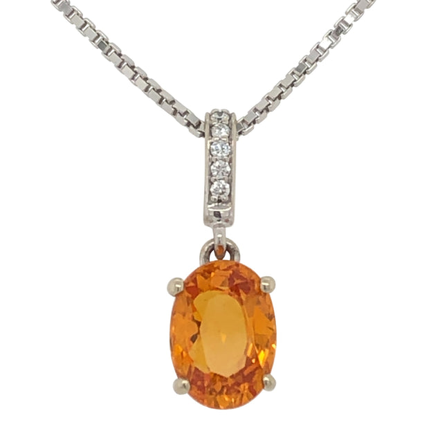 Oval Spessartite Garnet Pendant With Diamond Bale in 14k White Gold - Aatlo Jewelry Gallery