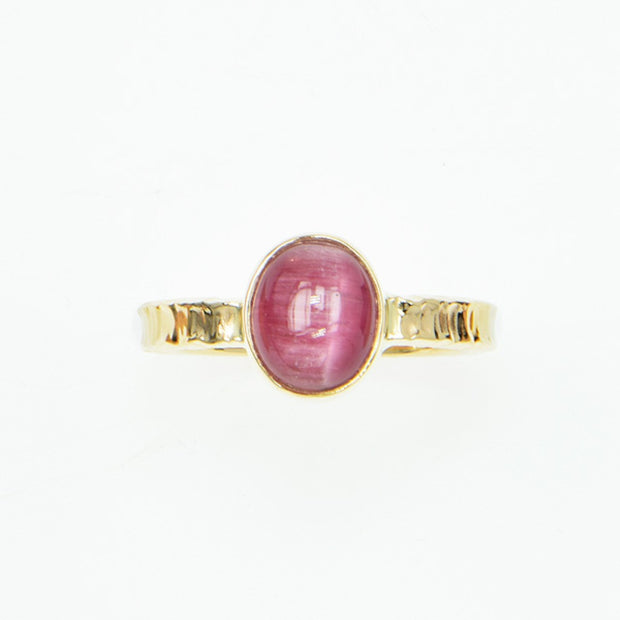 Michael Baksa 14K Gold Pink Cats Eye Tourmaline Cabochon Ring - Aatlo Jewelry Gallery