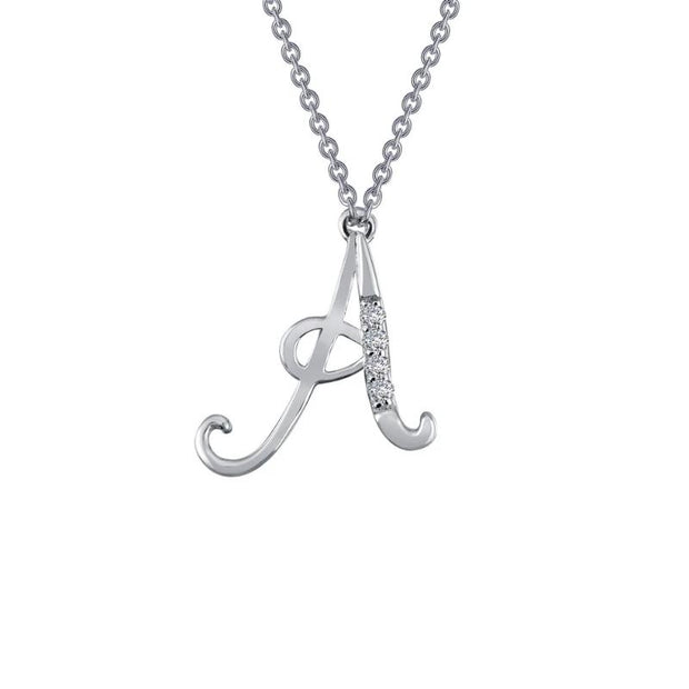 Lafonn Designer Diamond Script Letter Initial Necklace for Initials A-F - Aatlo Jewelry Gallery