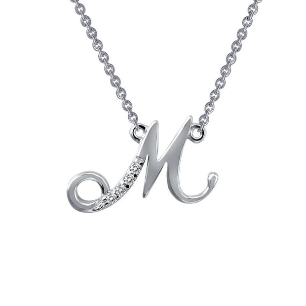 Lafonn Designer Diamond Script Letter Initial Necklace for Initials M-R - Aatlo Jewelry Gallery