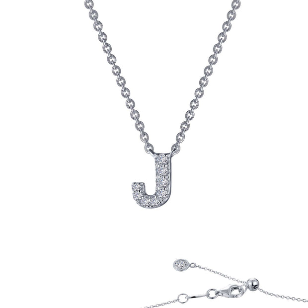 Lafonn Designer Diamond Block Letter Initial Necklace for Initial J