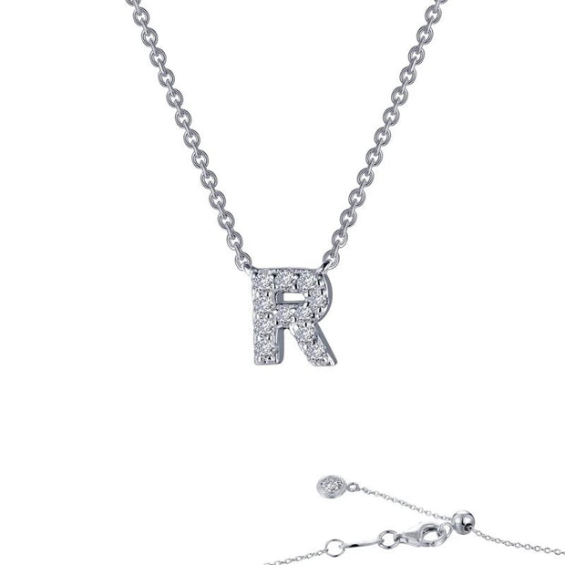 Lafonn Designer Diamond Block Letter Initial Necklace for Initials M-R - Aatlo Jewelry Gallery
