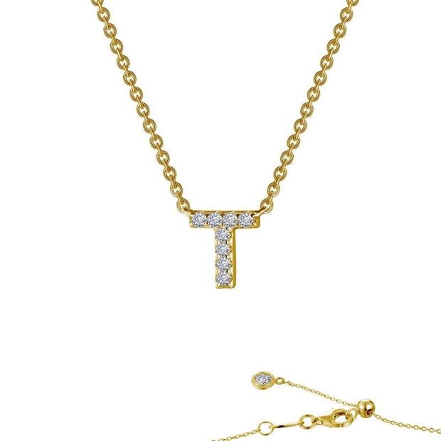 Lafonn Designer Diamond Block Letter Initial Necklace for Initials S-X - Aatlo Jewelry Gallery