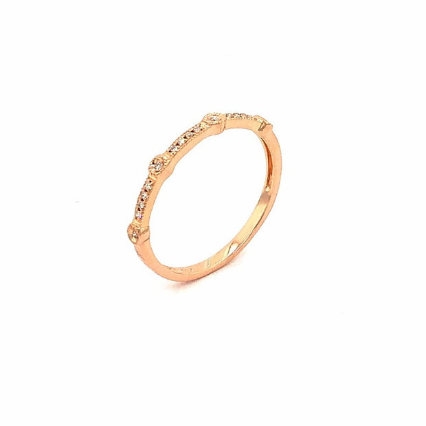 14K Rose Gold  and  Diamond Stacking Band with Bezel and Pave Set Diamond - Aatlo Jewelry Gallery