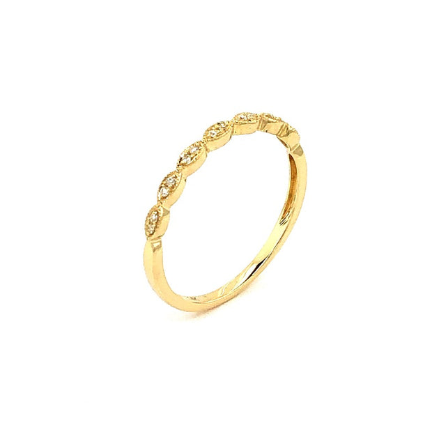 14K Yellow Gold and Diamond Vintage Style Ring - Aatlo Jewelry Gallery