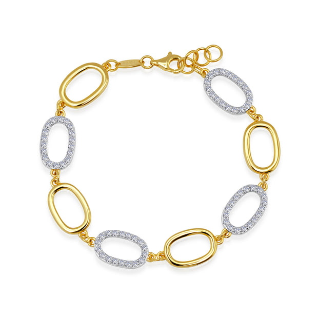 Lafonn Two Tone White and Gold Diamond Link Bracelet