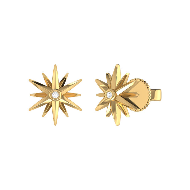 14k Yellow Gold Star Earring With Diamond Center - Aatlo Jewelry Gallery