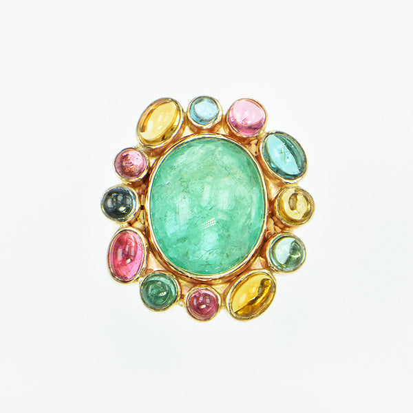 Michael Baksa 14k Emerald and Mulit-Colored Tourmaline Ring - Aatlo Jewelry Gallery