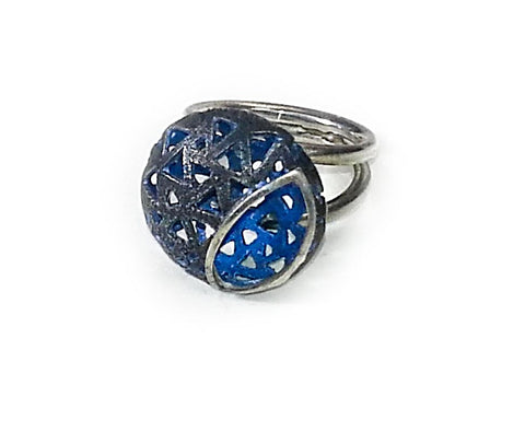 Glimpse Sterling Silver Black and Blue Enameled RIng - Aatlo Jewelry Gallery