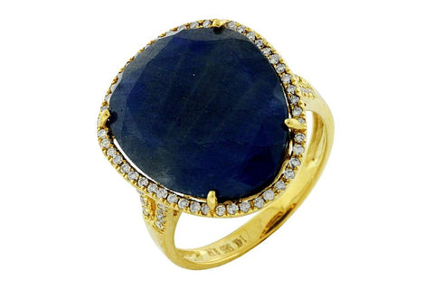 Aatlo Gallery 14k Yellow Gold Deep Blue Sapphire Slice and Diamond Ring - Aatlo Jewelry Gallery