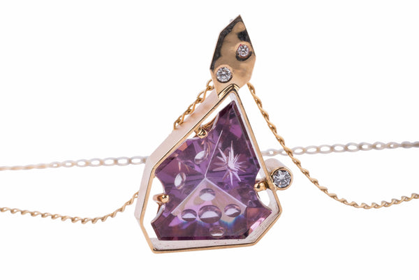 Gordon Aatlo Designs 14k Gem Art Amethyst & Diamond Pendant