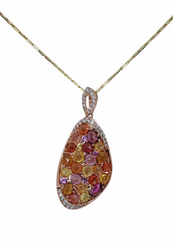 14k Rose Gold Multi-Sapphire and Diamond Pendant - Aatlo Jewelry Gallery