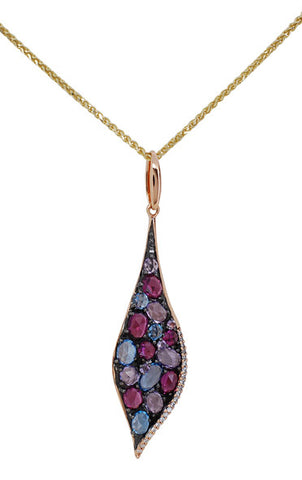 14k Rose Gold Blue Topaz, Amethyst and Diamond Pendant - Aatlo Jewelry Gallery