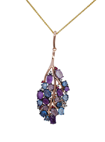 14k Rose Gold Multi-Colored Gemstone Pendant