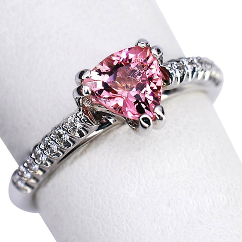 14k White Gold Pink Tourmaline and Diamond Ring - Aatlo Jewelry Gallery
