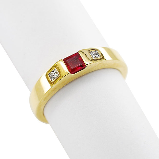 14k Yellow Gold Ruby and Diamond Ring - Aatlo Jewelry Gallery