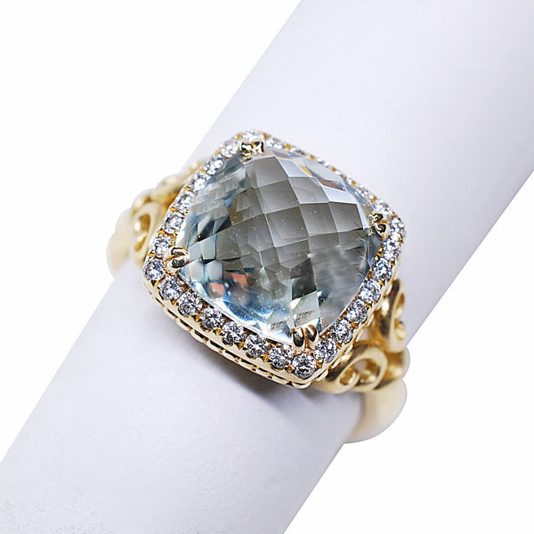 14k Mint Green Amethyst and Diamond Ring