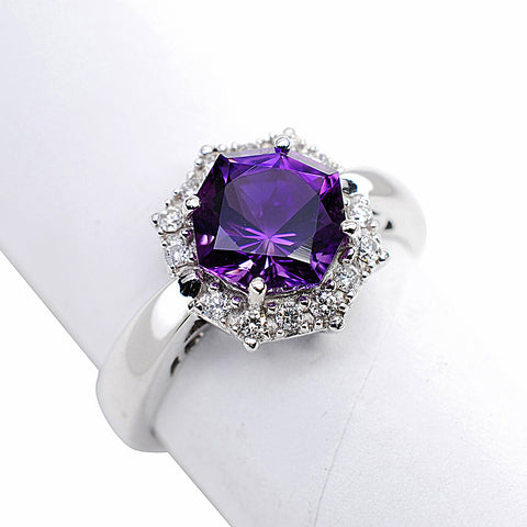 14k White Gold Amethyst and Diamond Ring - Aatlo Jewelry Gallery