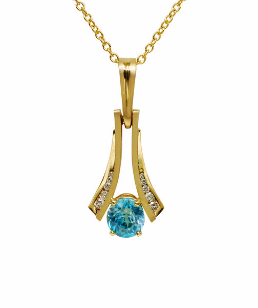 Gordon Aatlo Designs 14k Blue Zircon and Diamond Pendant