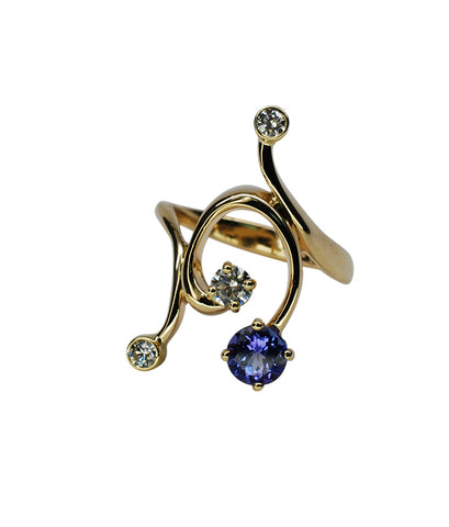 14k Yellow Gold Tanzanite and Diamond Ring - Aatlo Jewelry Gallery
