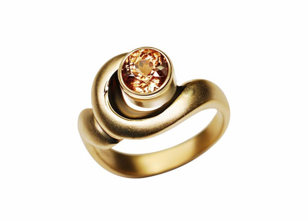 Gordon Aatlo Designs 14k Yellow Gold Champagne Zircon Ring - Aatlo Jewelry Gallery