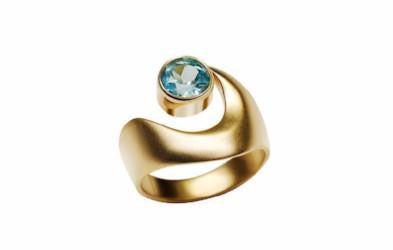 Gordon Aatlo Designs 14k Yellow Gold Blue Zircon Ring - Aatlo Jewelry Gallery