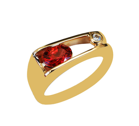 14k Yellow Gold Orange Sapphire and Diamond Ring - Aatlo Jewelry Gallery