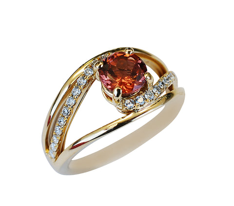 14k Yellow Gold Malaya Garnet and Diamond Ring - Aatlo Jewelry Gallery