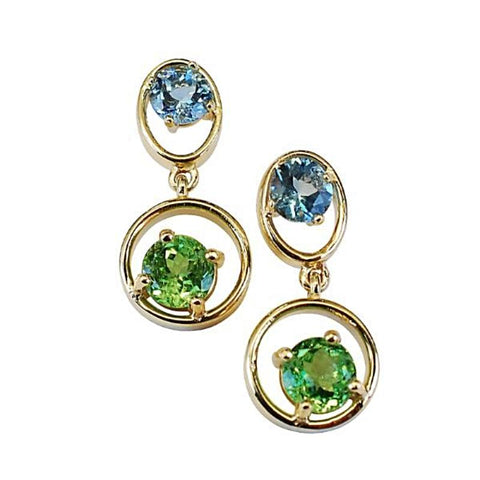 14k Yellow Gold Tsavorite Garnet And Aquamarine Drop Earrings - Aatlo Jewelry Gallery