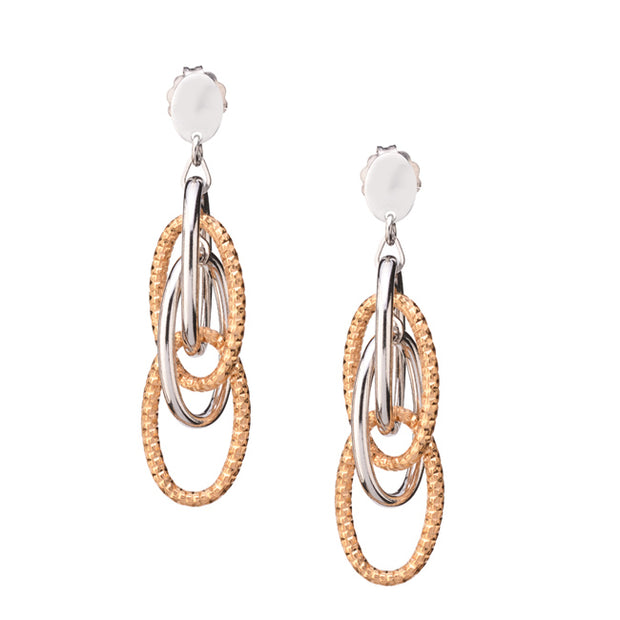 Silver and Gold Plated Oval Link Drop Earring by Frederic Duclos - Aatlo Jewelry Gallery