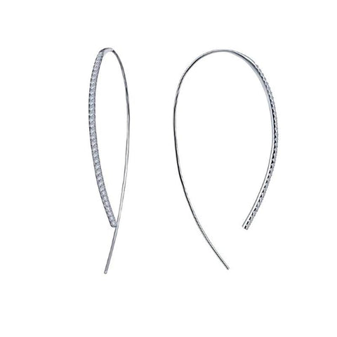 Lafonn Classic Collection Lassaire Diamond Open Hoop Earring