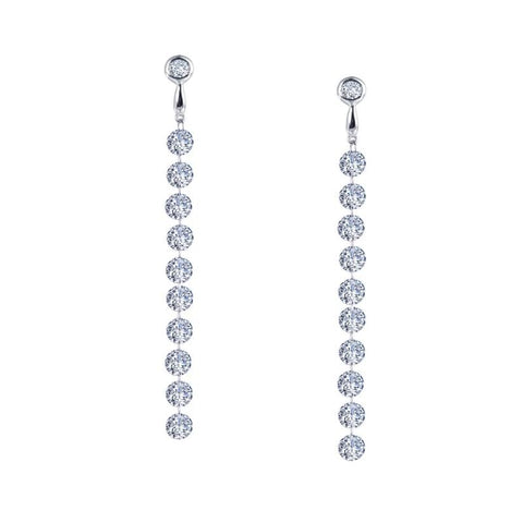 Long Ten Lassaire Diamond Drop Earrings